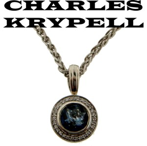 Charles Krypell 14k,blue Quartz,diamond,sterling Silver,ck325