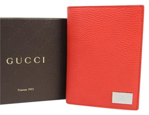 Gucci Sporting Red Leather Bifold Wallet w/ Gucci Engraved Plate 143385 6511