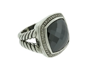 David Yurman David Yurman sterling silver .33 CT pave Diamond & Hematine Ring S 7