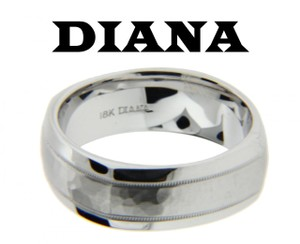 Diana 11n7519w Mens Wedding Band Ring In 18k White Gold Size 10