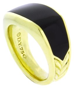 David Yurman David Yurman 3 sided onyx ring in 18k yellow gold size 10