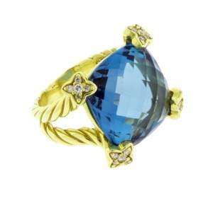 David Yurman 18k Blue Topaz Diamond Topaz R08133