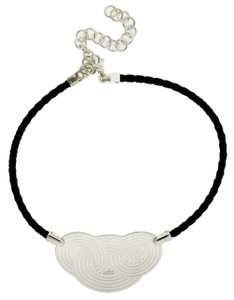 BVLGARI Enigma By Bulgari black leather cord necklace in sterling silver.