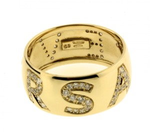 Versace Gianni Versace ladies pave diamond logo ring in 18k, new in box with c