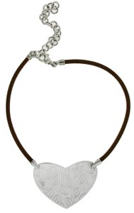 BVLGARI Enigma By Bulgari Women's Brown Leather Cord Necklace in silver