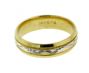 Frederick Goldman Men's Wedding Band In 14k 2 Tone Gold Size 11