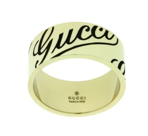 Gucci Gucci 9mm icon prints band ring in 18k white gold new in box Size 7