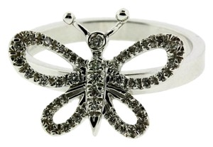 Gucci Gucci butterfly diamond ring in 18k white gold new in box size 7.5