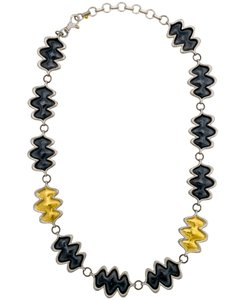 GURHAN Gurhan Sterling Silver and Yellow gold Flame Necklace 16 to 18.5