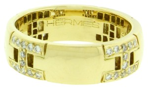 Hermès Hermes H diamond ring in 18k yellow gold in good condition size 4.5