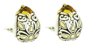 John Hardy John Hardy Citrine leaver back earrings in 18k yellow gold and Silver