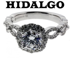 Hidalgo 130 Diamond Engagement Ring In 18k White Gold Fits 1ct Round Cut