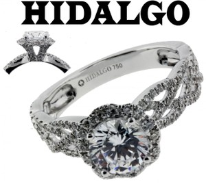Hidalgo 14 Diamond Engagement Ring 18k White Gold Fits 1ct Diamond