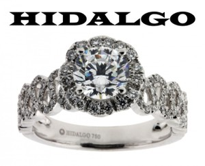 Hidalgo 188 Diamond Engagement Ring In 18k White Gold Fits 1ct Round Cut