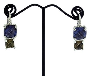 Judith Ripka Judith Ripka blue and smokey stone hook dangle earrings in Silver