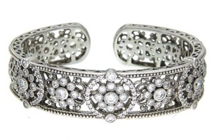 Judith Ripka Judith Ripka CZ hinged bangle in sterling silver size large.