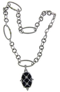 Judith Ripka Judith Ripka white sapphire & onyx necklace in 18k and sterling silver