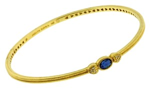 Judith Ripka Judith Ripka diamond & blue sapphire bangle in 14K yellow gold size M.