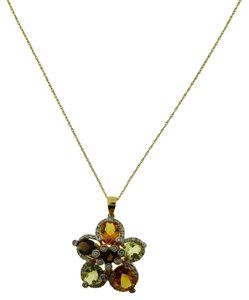 LeVian Levian Diamond, Smokey Topaz & Citrine Necklace In 14k Yellow Gold