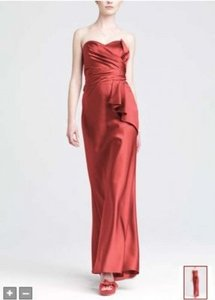 David's Bridal Coral/Salmon Satin 84737 Formal Bridesmaid/Mob Dress Size 8 (M)