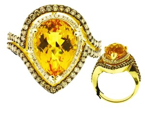 LeVian Levian Women's chocolate diamond & citrine large ring in 14k Size 7