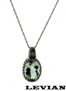LeVian Levian diamond & green amethyst necklace in 14k white gold.