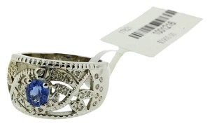 LeVian Levian diamond blue sapphire ring in 18k white gold new size 7.5