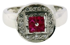 LeVian Levian diamond and ruby ring in 18k white gold new in box size 7