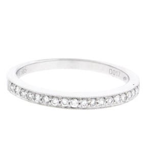 Other Milgrain halfway diamond wedding band in 14k white gold 2mm size 7