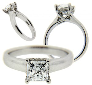 Ritani Diamond Engagement Ring In 18k White Gold Fits 125ct