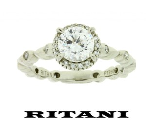Ritani .20ct Diamond Engagement Ring Platinum Will Fit 1ct Round Diamo