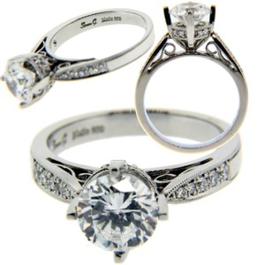 Simon G 20ct Diamond Engagement Ring In Platinum Fits 125 To 175ct Round Cut