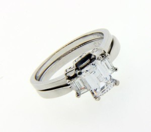 Tacori Tacori Diamond Engagement Set In Platinum Fits 1 Carat Emerald Cut.