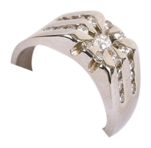 MADE GOLD Men's 14K Solitaire White Gold & Diamonds Ring