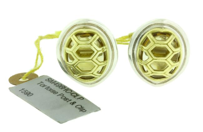 Item - Yellow Gold and Silver Tortoise Post & Clip with Citrine In 18k Earrings