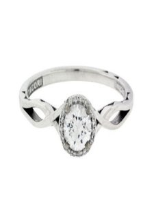 Tacori 52rd65 Sculpted Crescent In 18k Size 8.75 Engagement Ring
