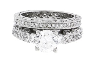 JewelryByDavid Tacori Style 18k white Gold Eternity Engagement and Wedding band Set