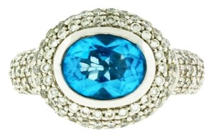 TECHLINE TECHLINE PAVE DIAMOND AND BLUE TOPAZ RING IN 18K WHITE GOLD SIZE 6.75
