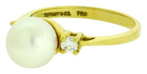 Tiffany & Co. TIFFANY & CO VS1 F Diamond & pearl Women's ring in 18k yellow gold Siz