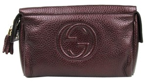 Gucci New Women's Brown SOHO Metallic Purple Zip Up Cosmetic Bag 338191 6149