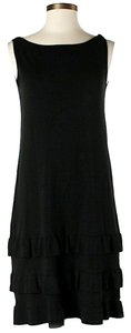 W by Worth short dress Black Silk Drop Waist Ruffle on Tradesy