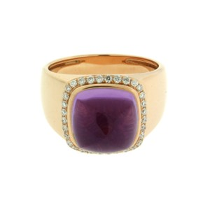 FRED Fred Paris amethyst & diamond ring in 18k rose gold size 52 - USA6