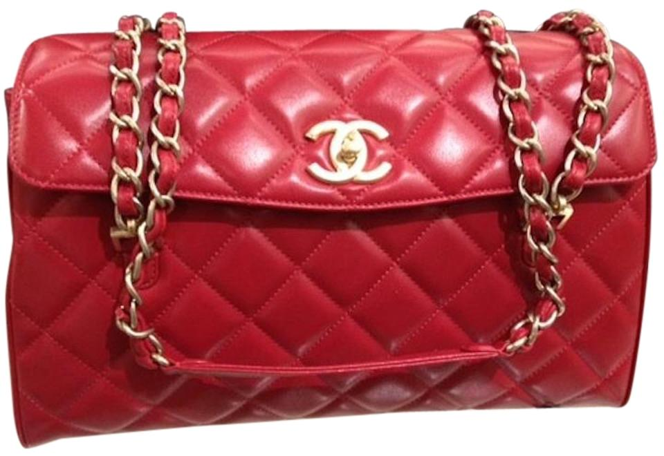 b66a6b9c5dfe4a Chanel Classic Flap Camera Case Misia Quilted Jumbo Maxi Satchel Frame  A67615 Red Lambskin Leather Shoulder Bag