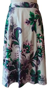 Tahari Pleated Floral Spring Skirt White multi color