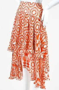 Other Preen Red Cream Abstract Print Satin Burnout Flare Kenobi Skirt Reddish-Orange, Cream