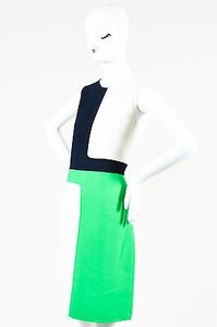 Michael Kors Bright Green Cream Navy Blue Sl Color Block Shift Dress