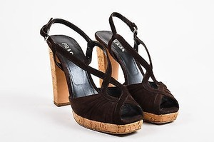 Prada Suede Cork Peep Brown Sandals