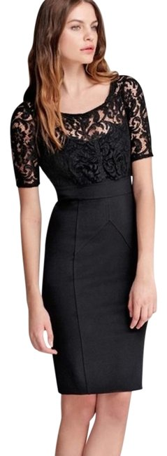 Item - Black Lace Bodycon Above Knee Night Out Dress Size 4 (S)