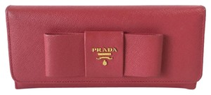 Prada Prada Saffiano Leather Wallet with Large Bow