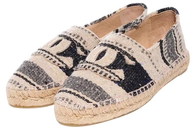 Item - Gray Blue Royal Blue Indigos White Ivory Beige 15c Striped Canvas Espadrilles Eu 37 Flats Size US 7.5 Regular (M, B)